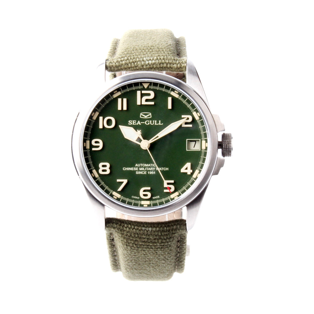 seagull Chinese military watch with bank on case back 43mm