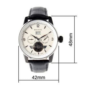 Seagull Month Date Day Display watch Genuine Leather Engraved Skeleton Watches Self Wind Automatic Men's Mechanical Watch 219.328