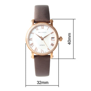 Seagull Rhinestone Bezel MOP Satin Finished Strap Auto Date Onion Crown Gold Plated Self Wind Automatic Women's Watch 719.387