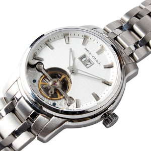 Seagull Retro Flywheel Skeleton Watches Exhibition Back Self Wind Automatic Men's Mechanical Watch 816.409