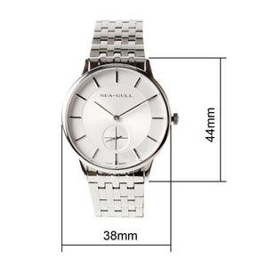 Seagull Ultra Thin 8mm Bauhaus Style Small Second Solid Case Back Sea-Gull Hand Wind Mechanical Men's Watch 816.388