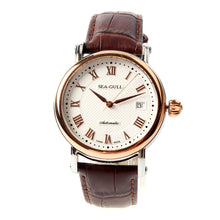 Load image into Gallery viewer, Seagull 219.365 Roman Numerals Gold Tone Onion Crown Exhibition Back Brown Leather Automatic Class Men's Watch Self Winding