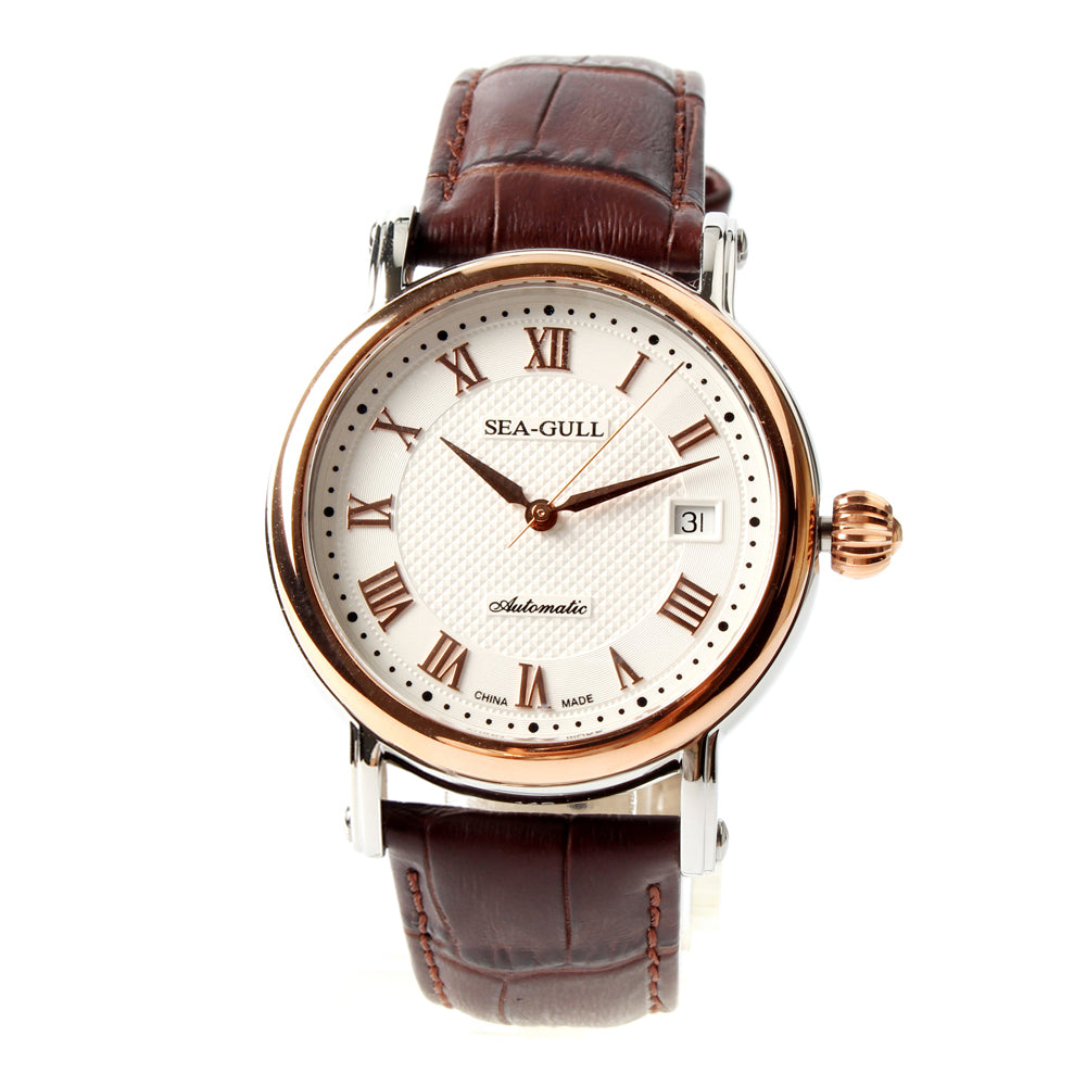 Seagull 219.365 Roman Numerals Gold Tone Onion Crown Exhibition Back Brown Leather Automatic Class Men's Watch Self Winding