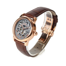 Load image into Gallery viewer, Seagull Hollow Out Skeleton Dial Roman Numerals Fashion Leather Strap Self Wind Automatic Women's Watch 519.21.5042LK
