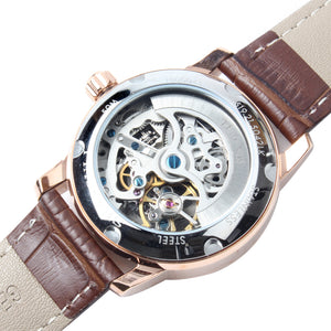 Seagull Hollow Out Skeleton Dial Roman Numerals Fashion Leather Strap Self Wind Automatic Women's Watch 519.21.5042LK