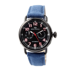 Seagull Military Watch Black PVD Case Auto Date Week Display Mechanical Watch 811.23.5026H