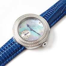 Load image into Gallery viewer, Seagull Rhinestone Bezel Lady Wristwatch Light Blue MOP Dial Hand Wind Small Second Women's Mechanical Watch 719.750L