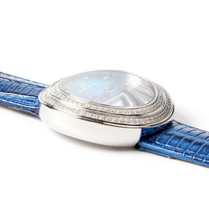 Seagull Rhinestone Bezel Lady Wristwatch Light Blue MOP Dial Hand Wind Small Second Women's Mechanical Watch 719.750L