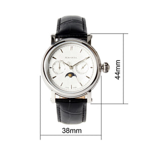 Seagull D0721S Automatic Mechanical Watch Day Night Indicator Date Day Display Guilloche Dial Exhibition Case Back Men's Watch