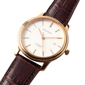 Seagull ultra thin 8mm PVD rose gold case mechanical ST18 movement self wind watch M201sg sapphire crystal