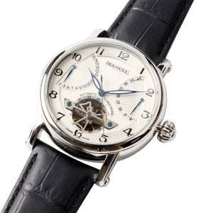 Seagull automatic self winding watch power reserve date display luminous hands sapphire crystal 819.317