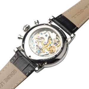Seagull power reserve 41mm chronograph watch leather strap onion crown hand wind Mechanical Men's Watch M200s