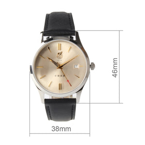 "Seagull Classic Mechanical Limited Leather Strap Re-Edition ""51""""WuYi""Golden Dial Self Wind Automatic Men's Watch FKWY 38mm"