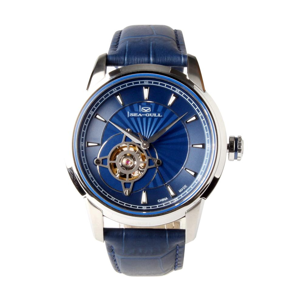 Seagull skeleton Leather Strap Movement Watches Exhibition Back Self Wind Automatic Men's Mechanical Watch 819.32.1014KL