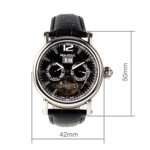 Seagull Calendar Grande Date Skeleton Flywheel Exhibition Back Onion Crown Self Wind Automatic Men's Mechanical Watch M307s