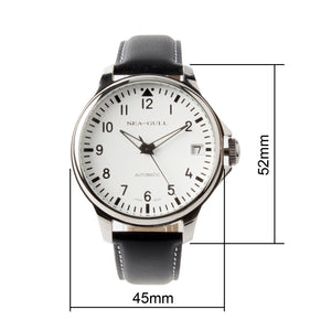 Seagull Pilot Mechanical Wristwatch Genuine Leather Luminous Hands Exhibition Back Self Wind Automatic Men's Watch D819.552