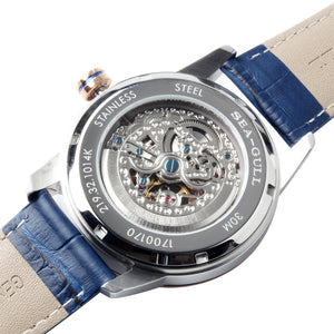 Seagull skeleton Leather Strap Watches Exhibition Back Self Wind Automatic Men's Mechanical Watch 219.32.1014K