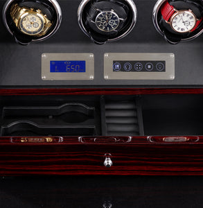 9+0 Watches Automatic Watch Winder Box With LED Lights Motor Control Wooden Bobbin Winder