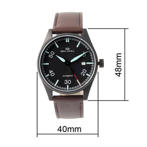 Seagull Classic Vintage Pilot watch Leather Strap Men Watches Luminous Hands Self Wind Automatic Men's Mehanical Watch 819.583H