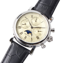 Load image into Gallery viewer, Seagull chronograph watch high complication moon phase date display mechanical M199s sapphire crystal leather strap