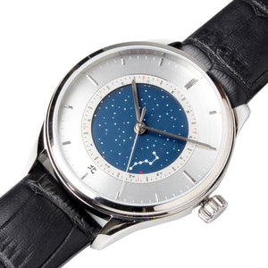 with month indicator dial silver hands sapphire crystal