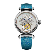 Load image into Gallery viewer, Seagull tourbillon women watch Silver mother of pearl dial Blue stingray leather strap 719.18.8100L manual wind