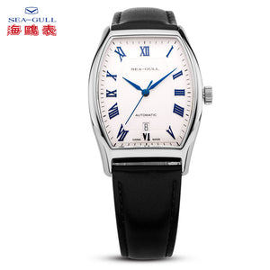 Seagull Dress Watch Tonneau Shape Automatic Self Wind ST18 Movement Roman Numerals Leather Strap Mechanical Men's Watch 849.402