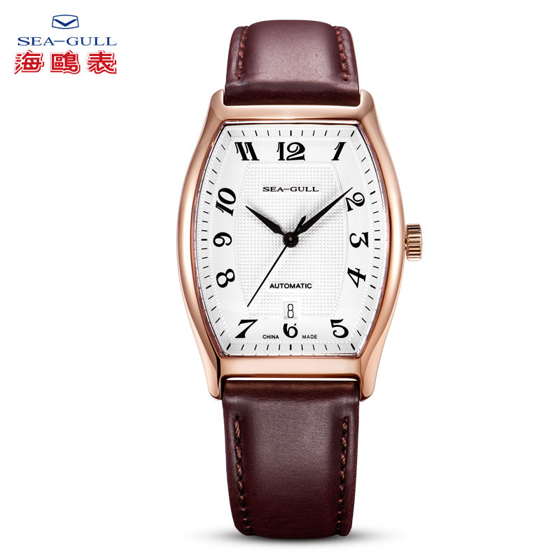 Seagull Dress Watch Tonneau Shape Automatic Self Wind ST18 Movement Roman Numerals Leather Strap Mechanical Men's Watch 549.402
