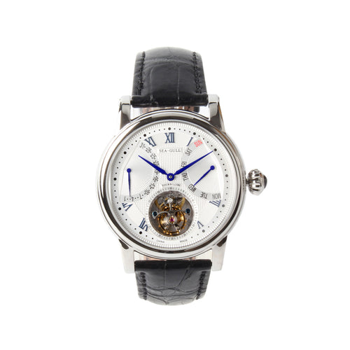 Seagull tourbillon watch alligator leather strap day date display self winding mechanical watch ST8004ZS