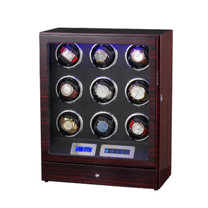 New Version 9+0 Watches Automatic Watch Winder Box With LED Lights Motor Control Wooden Bobbin Winder Box