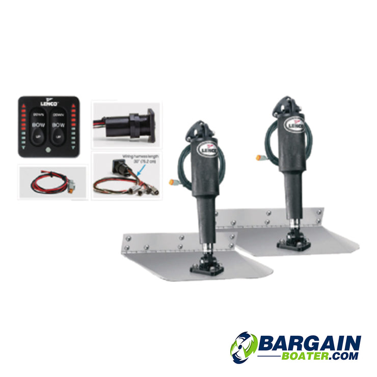 Lenco Complete Standard Mount Electric Trim Tab Kit w/Switch-12 Volt