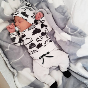 Newborn Infant Baby Cloud Print Clothing Set