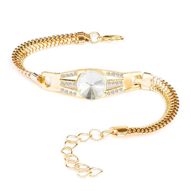 Elegant Gold Color Alloy Crystal and Rhinestone Flash Cuff Chain wrap bracelet For Women