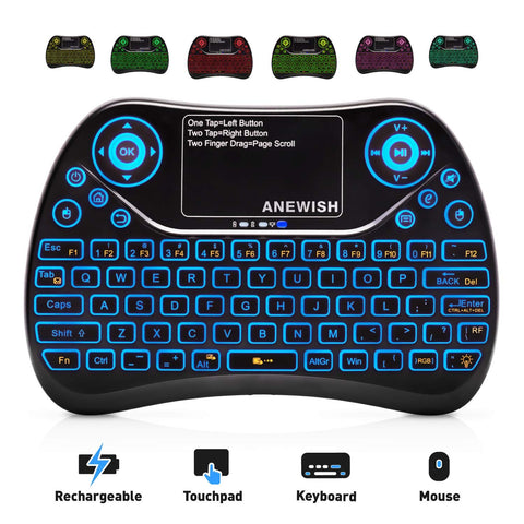 ANEWISH 2.4GHz RF Wireless Mini Keyboard with Touchpad Mouse Combo, Rechargable & Light & Handheld Smart Remote for Google Android TV Box,PS3,PC,PAD
