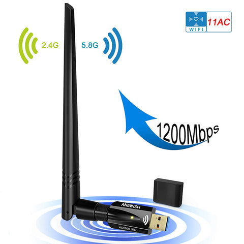 USB WiFi Adapter 1200Mbps, ANEWISH Wireless USB3.0 Dual Band 11ac(2.4GHz/300Mbps + 5.8GHz/867Mbps) Network LAN Card Dongle for PC Desktop Laptop, Support Windows 10/8.1/8/7/XP, Mac OS