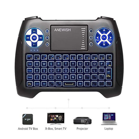 (2018 Latest, Backlit) ANEWISH 2.4GHz Mini Wireless Keyboard with Touchpad Mouse Combo, Rechargeable Li-ion Battery & Multi-Media Handheld Remote for Google Android TV Box,PS3,PC,PAD