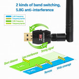 ANEWISH USB WiFi Adapter ANEWISH 5dBi Antenna Dual Band AC600 Wireless Adapter USB WiFi Card Wireless Dongle for Desktop PC Laptop