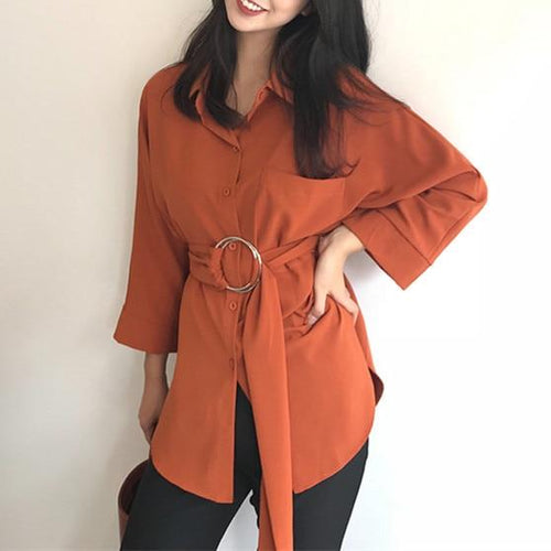 Elegant Belt Blouse