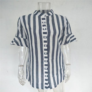 Half Striped Sleeve Blouse