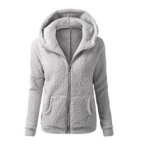 Women's Soft Warm Elegant Fleece Hooded Jacket