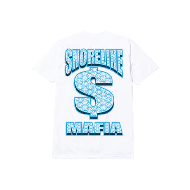 BUSSDOWN MAFIA TODDLER TEE: WHITE/BLUE