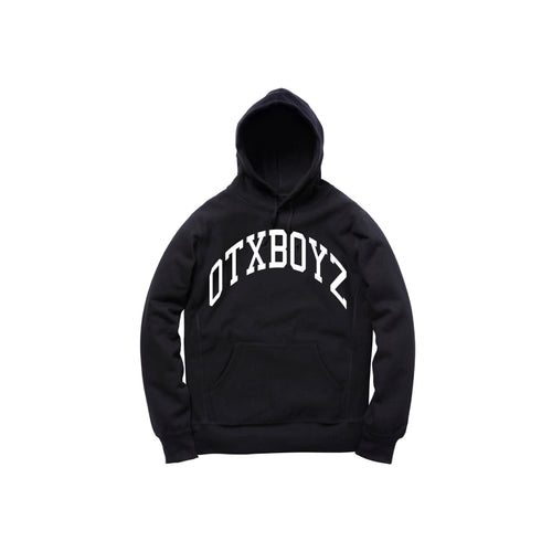 OTXBOYZ EMBROIDERED PULLOVER HOODY: BLACK