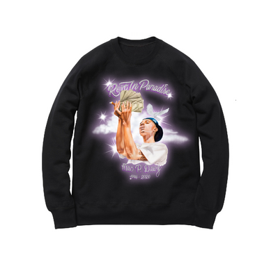 AIRBRUSH CREWNECK SWEATSHIRT: BLACK