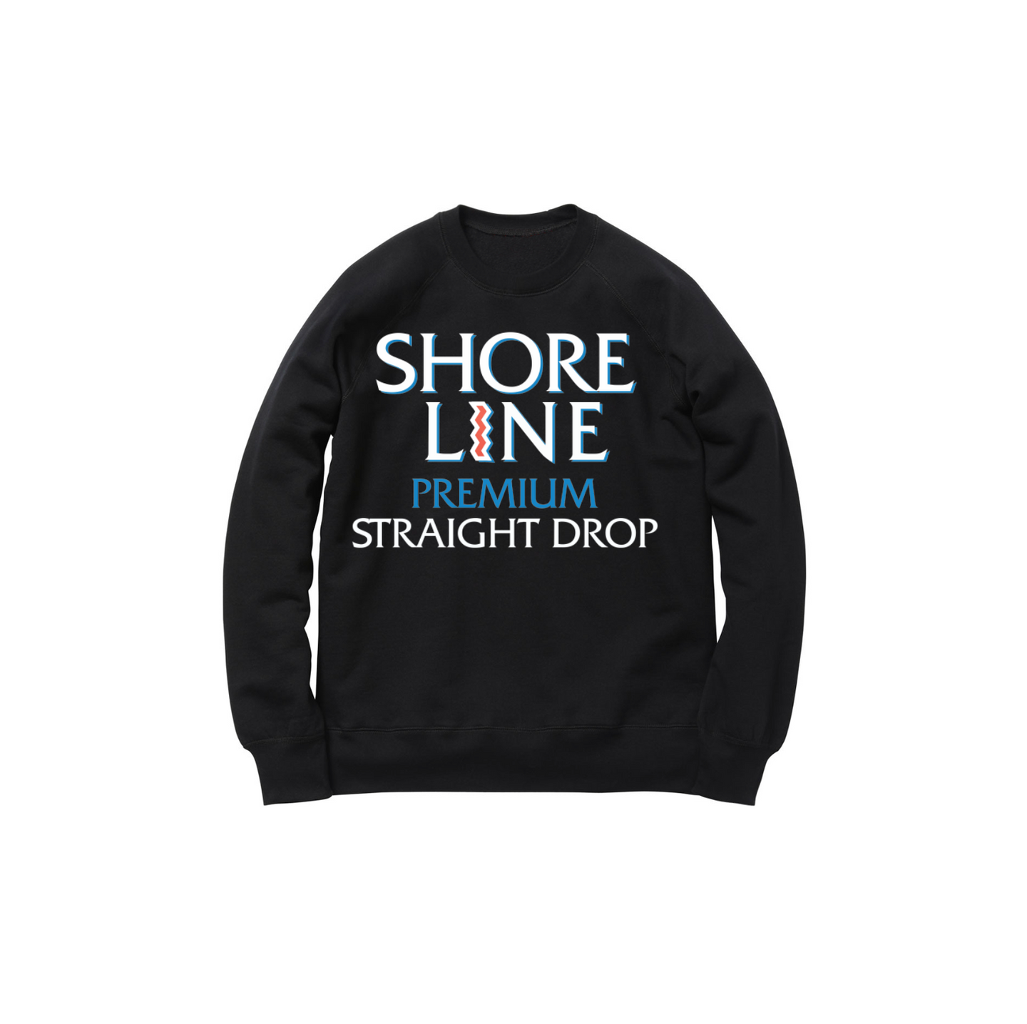 STRAIGHT DROP CREWNECK SWEATSHIRT: BLACK