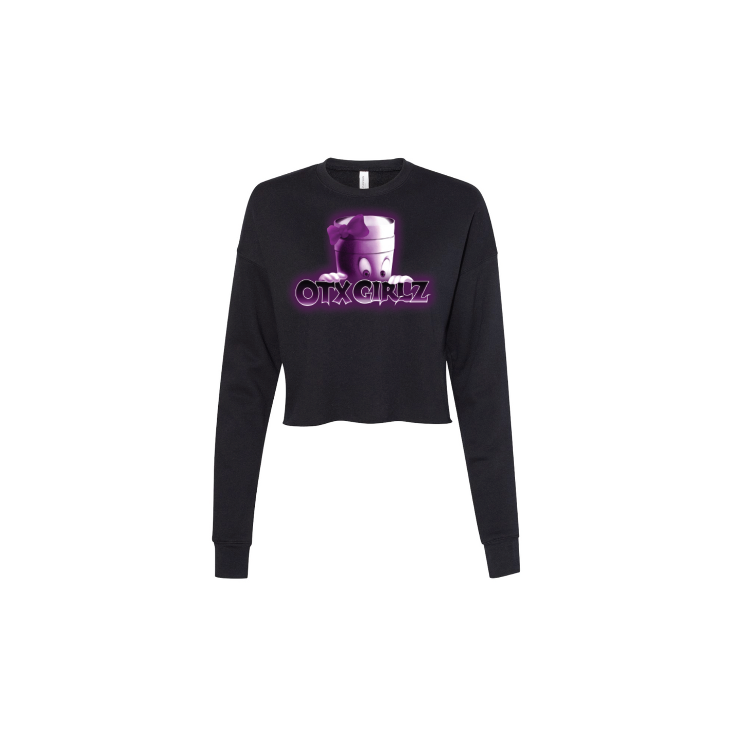 PEARL GHOST CROP LONG SLEEVE: BLACK/PURPLE