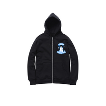 Load image into Gallery viewer, AIRBRUSH SNOWMAN ZIP UP HOODY: BLACK