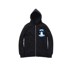 AIRBRUSH SNOWMAN ZIP UP HOODY: BLACK