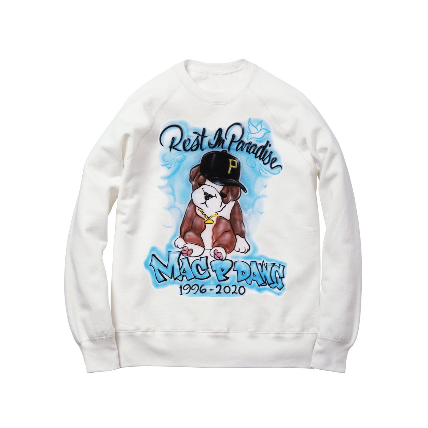 ALL DAWGS GO TO HEAVEN CREWNECK SWEATSHIRT: WHITE