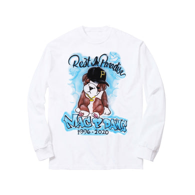 ALL DAWGS GO TO HEAVEN LONG SLEEVE TEE: WHITE