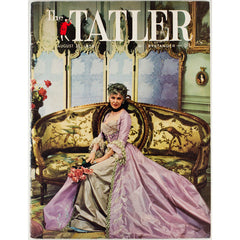 Silk evening dress on a sofa The Tatler Magazine 27th August 1958